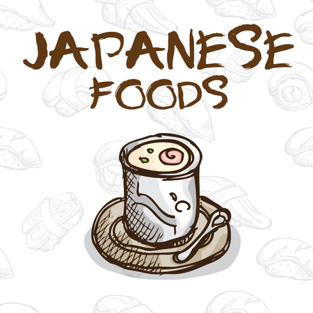 poached: Japan food poached eggs Illustration