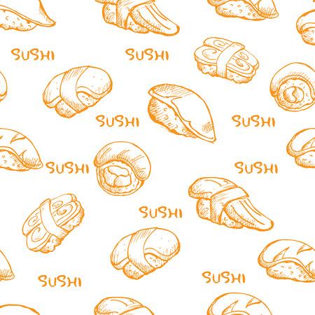 japan food sushi pattern Illustration
