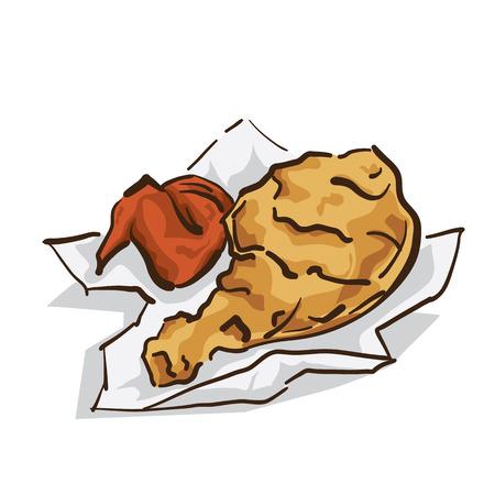 pollo frito alimentos Ilustración de vector