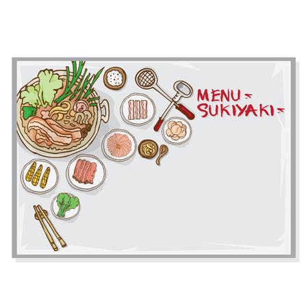 menu sukiyaki shabu  template Vettoriali