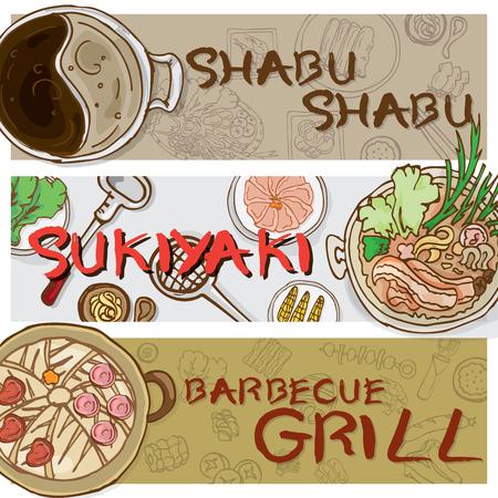 menu sukiyaki shabu barbecue Stock Vector - 73014544