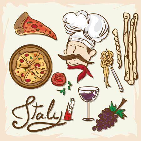 Italian foods drawing graphic  design.