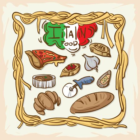 Italian foods drawing graphic  design illustrate objects