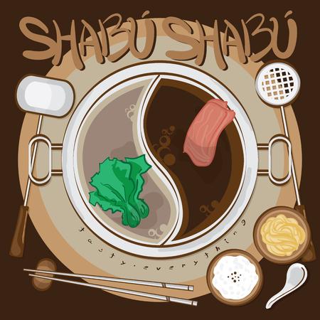 menu sukiyaki tekening grafisch ontwerp illustreren objecten sjabloon