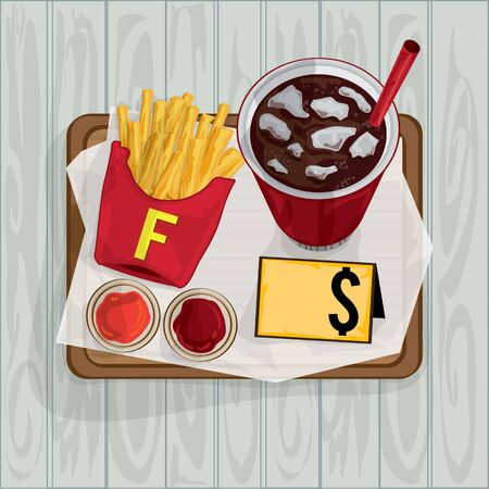 foods objects French fries drink cola Illustration