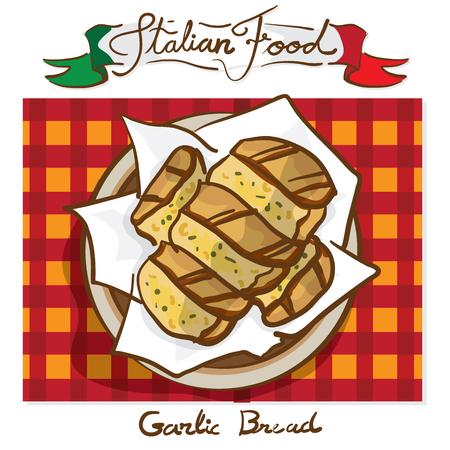 italian foods garlic bread Illustration