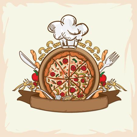 italian foods pizza logo key visual