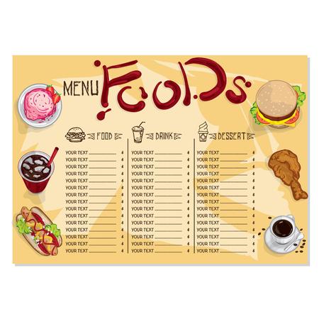 menu fast food Ilustração