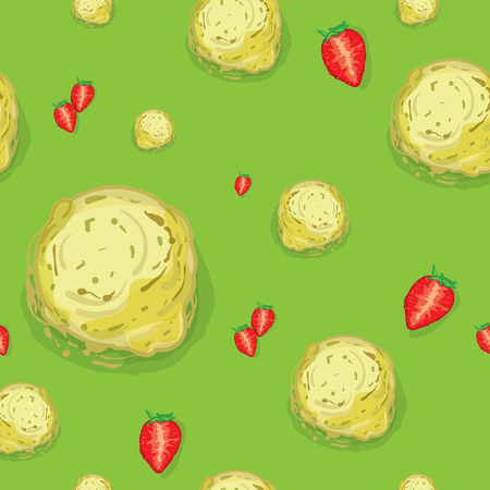 A pattern ice cream Strawberry green