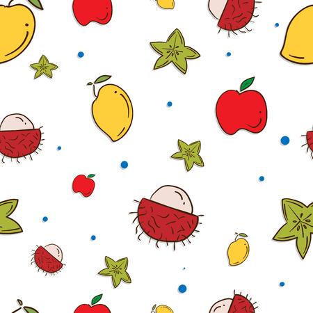 pattern fruit Mango rambutan star apple