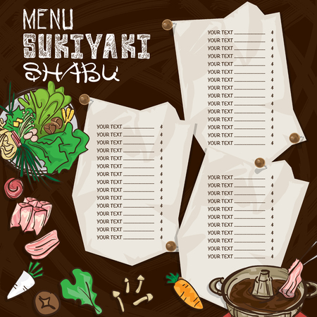prawns: menu japanese food sukiyaki shabu restaurant template design hand drawing graphic.