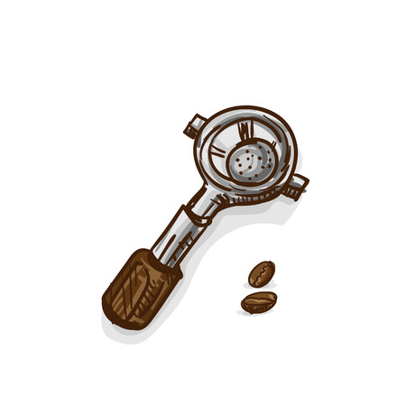 Coffee espresso basket drawing object vector illustration.