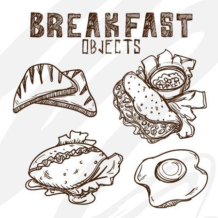 Omelette egg ham sausage bread