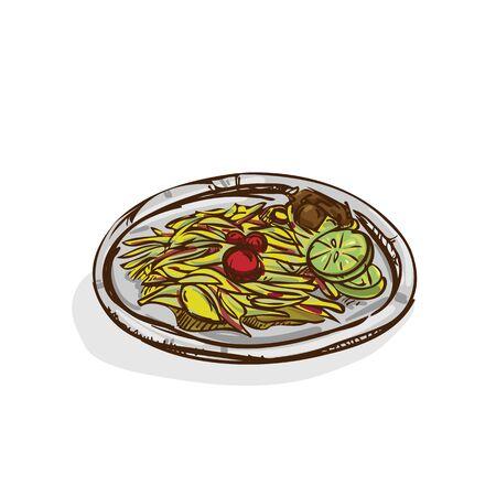 Papaya salad, Thai food drawing