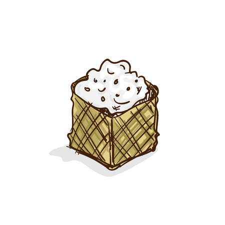 Sticky rice food drawing object