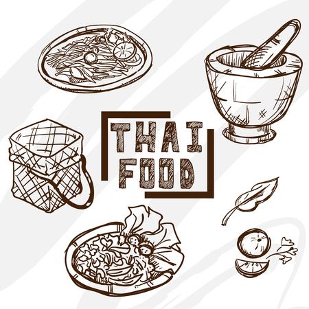 Tajski obiektów żywnościowych rysowania obiektu graficznego Ilustracje wektorowe