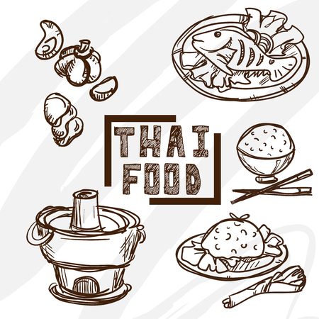 thai herb: Thai food objects drawing graphic object