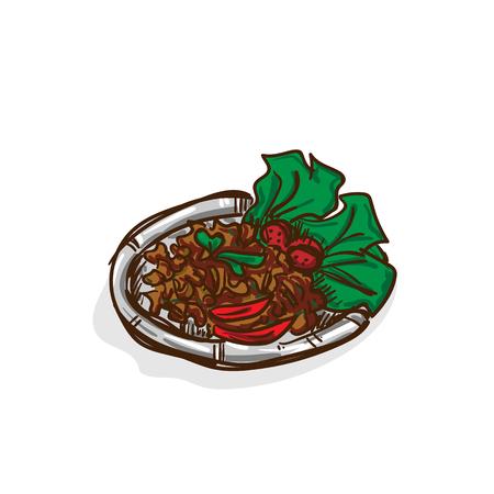 Thais varkensvleessalade recept voedsel object Stock Illustratie