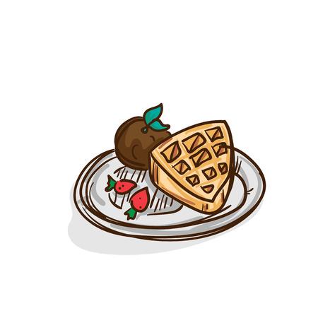Waffle ice cream drawing food object