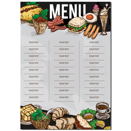 fried: menu food restaurant template design hand drawing graphic. Illustration