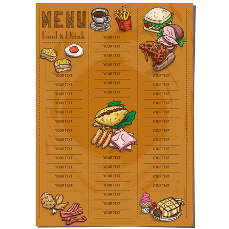 menu food restaurant template design hand drawing graphic. Illustration