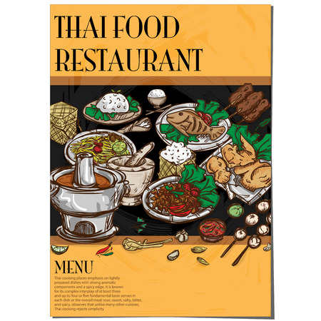 Menu of thai food restaurant template design hand drawing graphic.