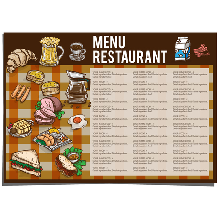 fried: Nenu food restaurant template design hand drawing graphic.