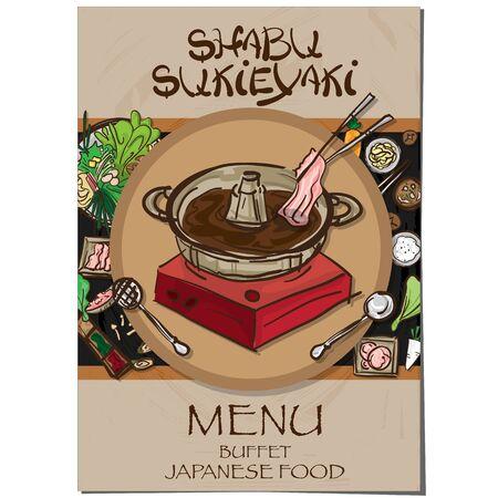 menu sukiyaki shabu Japanese food restaurant template design hand drawing graphic. Illustration