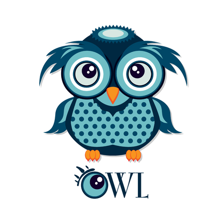 Owl graphic cartoon character