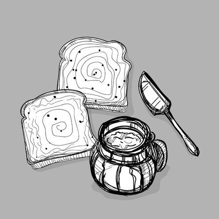 food jam jar bread knife butter drawing graphic illustrate objects