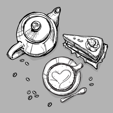 food tea pot cake coffee cup drawing graphic illustrate objects