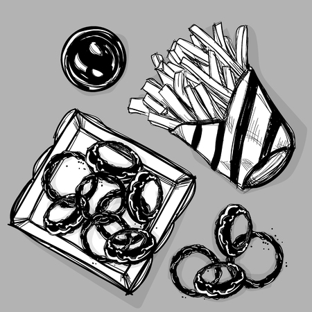 food French fries onion rings fastfood drawing graphic illustrate objects Illustration