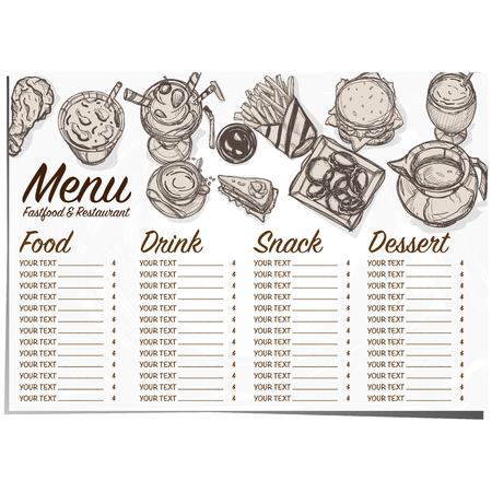 hot dog: menu fastfood restaurant template design hand drawing graphic