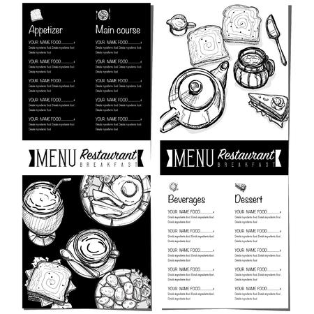 hot dog: Menu breakfast food restaurant template design hand drawing graphic. Illustration