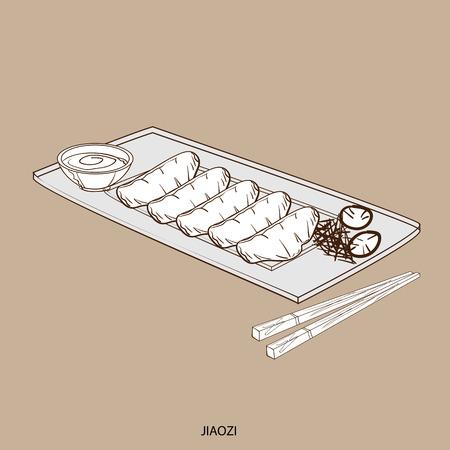 Food object jiaozi hand drawing.