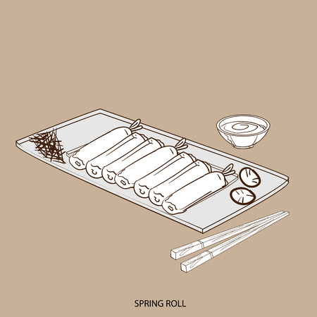 food object spring roll hand drawing Illustration