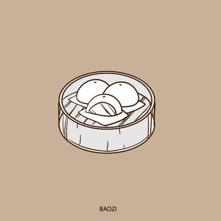 中国の肉まんあんまん食品オブジェクト手描きのイラスト素材ベクタ