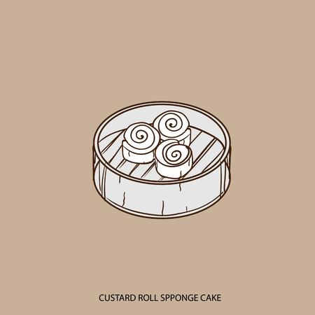 Chinese food custard roll sponge cake object hand drawing
