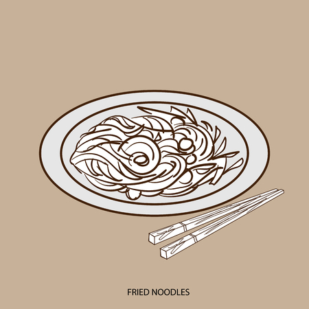 Chinese food fried noodles hand drawing Stock Vector - 87342670