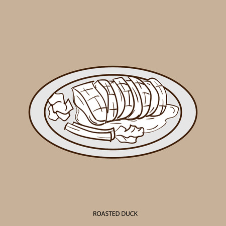 Chinese food ROASTED DUCK hand drawing
