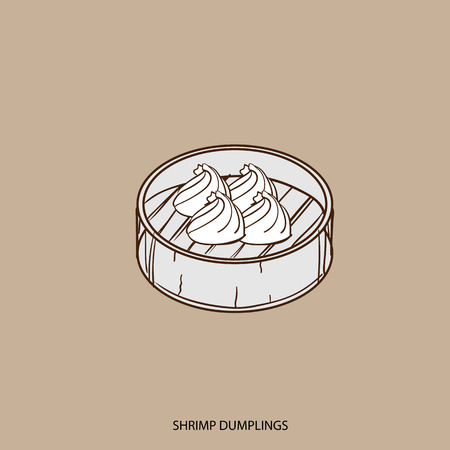 Chinese food SHRIMP DUMPLINGS object hand drawing