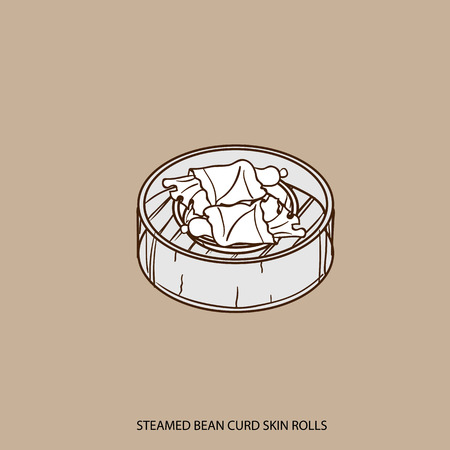 Chinese food STEAMED BEAN CURD SKIN ROLLS object hand drawing Illustration