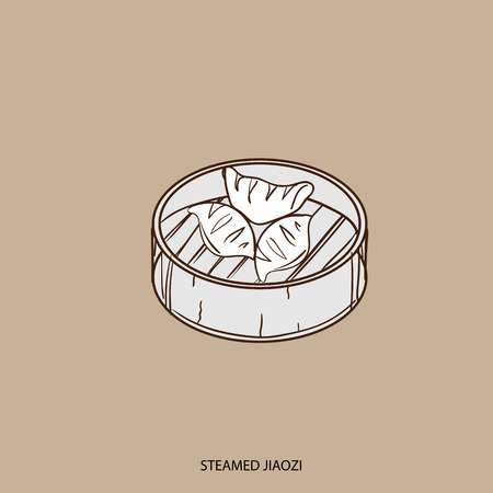 Chinese food STEAMED JIAOZI object hand drawing