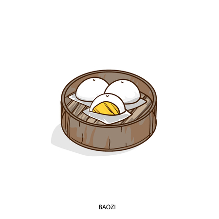 A Chinese boazi food object hand drawing on white background. Illustration