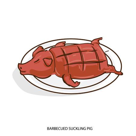 Eine chinesische Nahrung grillte säugende Gegenstandshandzeichnung auf weißem Hintergrund. Vektorgrafik