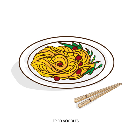 A Chinese food fried noodles hand drawing on white background.