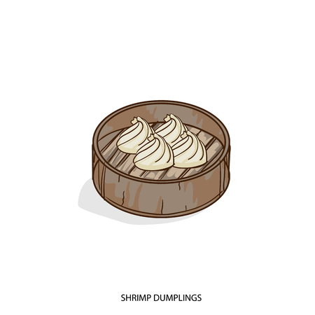 A Chinese food shrimp dumplings object hand drawing on white background. Illustration