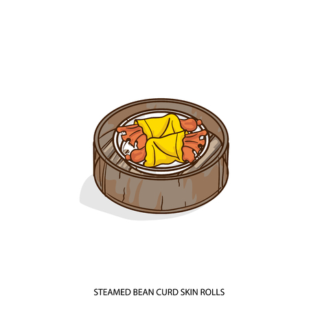 A Chinese food steamed bean curd skin rolls object hand drawing on white background.