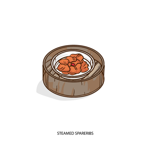 A Chinese food steamed spareribs object hand drawing on white background.