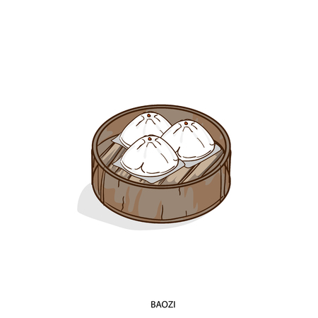 Illustration of traditional Asian steamed dish.